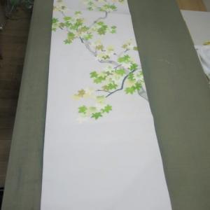 手描き友禅染名古屋帯 長期保管による移染 しみ抜き 正絹素材