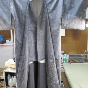 牛首紬訪問着袷 黄変しみ しみ抜き 正絹素材