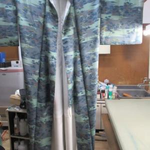 小紋袷 長期保管による収縮 丸洗い・仕上げ 正絹素材