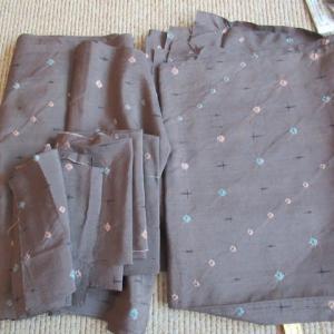 紬地絞り表地 洗い張り 正絹素材