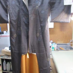 紬袷 掛衿汚れ・袂水しみ しみ抜き 袖丈出し 補修縫い 正絹素材