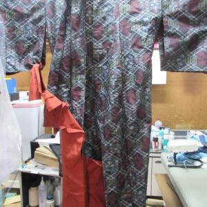 村山大島袷(一部解き済み)洗い張り(抗菌加工)正絹素材