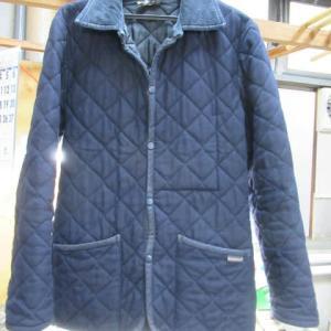 キルティングコート(ラベンハム製)コーデュロイ部分ヤケ クリーニング・色掛け 綿素材