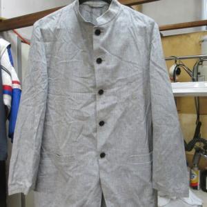 スタンドカラースーツ(アレグリ製)黄変しみ 水洗い・全体漂白 綿・麻素材