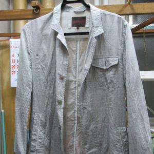 夏ジャケット 汗による黄変しみ 全体漂白 綿・ポリウレタン素材