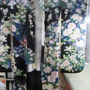 汕頭柄振袖袷 丸洗い 正絹素材