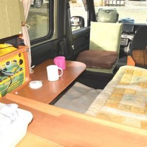 N-VANの車中泊、床面2段(夏)スタイル。 どこでも食堂です。<再投稿>