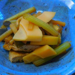 ダイエットを意識した食べ物 玄米菜食 筍の煮物 ゴロゴロ野菜に初カボチャ イワシ缶におろし