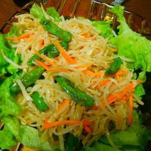 今日の夕飯は? 何時もお野菜パワーにパワーを貰っている献立 干し大根のサラダ(^^♪