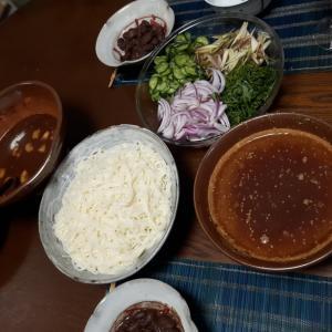 季節ならではの冷や汁 2種でお素麺 胡麻味噌だれ と 生姜味噌味 薬味沢山!