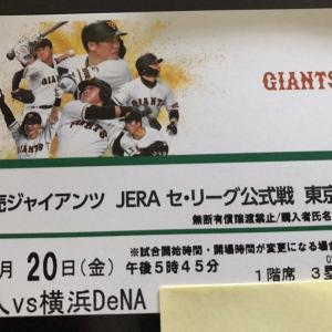 ジャイアンツ対ベイスターズ2021.8.20チケット、キター!