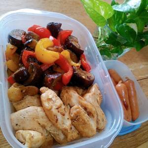鶏胸と茄子とパプリカの適当炒め