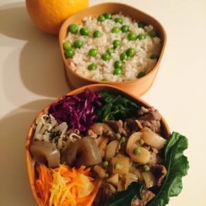 2021/2/26牛肉と新玉ねぎの生姜煮弁当