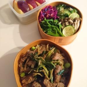2021/8/25牛肉とネギとニラの炒めもの弁当 * ブルーインパルス