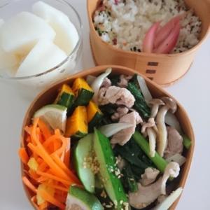 2019/8/23豚肉と小松菜の炒めもの弁当