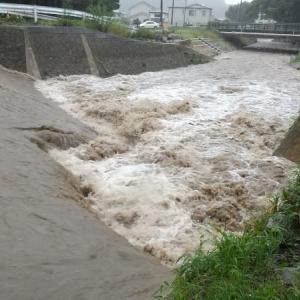 濁流:復旧工事後初めての大雨