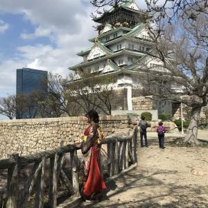 成人式の後撮りは大阪城で。
