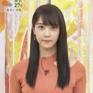【女子アナのニット乳115】上野愛奈アナのワンショル風スレンダークビレニット美乳・横乳【はやドキ!】