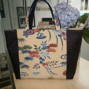 着物地と帯のバッグ