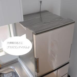 ★ホコリ対策にかぶせた冷蔵庫上のラップ その1年後のすがた。