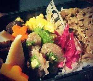 【夫のOBENTO】自家製シイタケの煮物と牛丼のお弁当♪