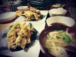 【まいにちゴハン】お魚と野菜の天婦羅。