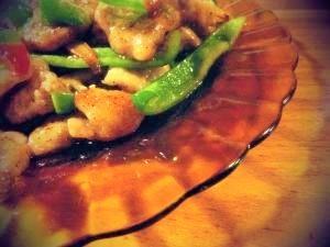 *回鍋肉風・豚サガリとピーマンたっぷりの炒め物。