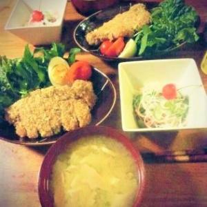 【ダイエットごはん】ノンフライとんかつ&キュウリと春雨のサラダ。