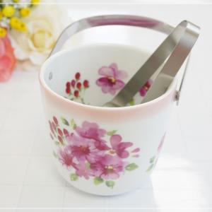 ☆ピンクのグラデーションとピンクのお花が素敵なアイスペール☆