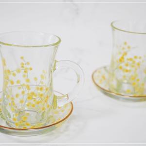 ☆夏はガラス作品作りたくなりますね。ミモザのカップ&ソーサー☆