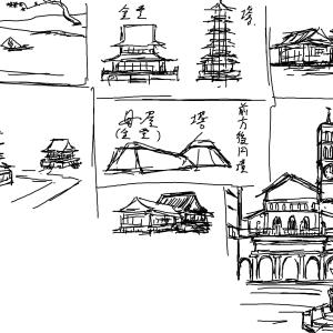 塔と金堂の組み合わせ。建築の美しさ。