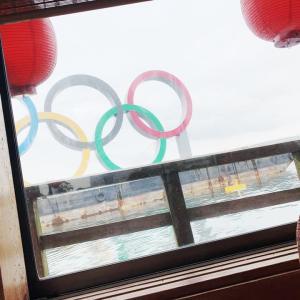 東京オリンピック開幕直前。五輪の輪にお船で接近