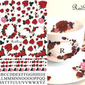 【NEW転写紙新発売】レッドローズ転写紙 RedRose(ポーセラーツ用 薔薇転写紙)白磁用