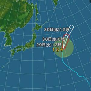 台風、今の所は