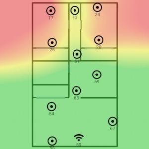 電波強度を表すヒートマップを作成して無線LANルータを置く位置を考えた