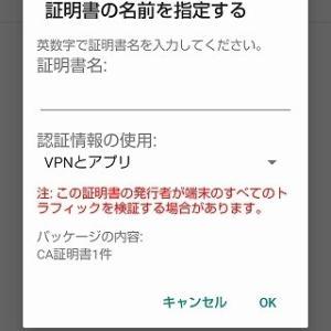 スマホに、IPアドレスのオレオレサーバ証明書をインストールする