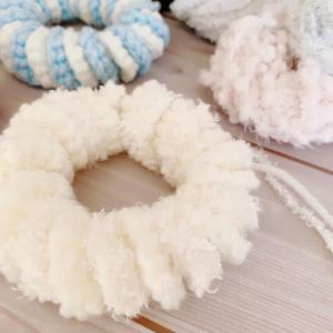 ふわふわの毛糸で編んでみたら♪