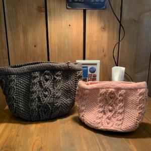 模様編みのバッグ出来上がってきました♪