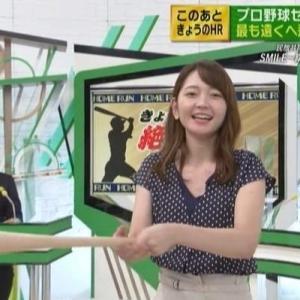 【スポーツウォッチャー】竹﨑由佳アナスカートでも片足上げてフルスイング!【きょうも絶好調!?】