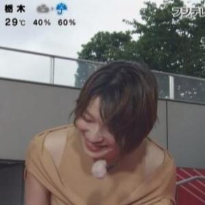 【めざましテレビ】阿部華也子アナ7時台からは上着を脱ぎ捨てノースリクビレニット!
