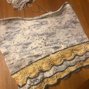 *hueloco毛糸で編むセーターMarettimoの身頃分け*
