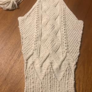 *NOROヤーンで編むサイチカさんのアランカーディガン~右袖編めた*