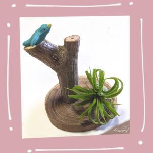 **ぷちリメイク**槐の板に枝をつけて青い鳥のせた。どこに飾ろうかな2021...