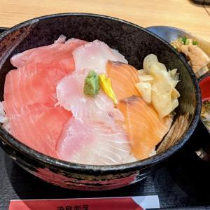 新高島 お魚どうらく 鮪サーモン糸引き鯵の三色丼