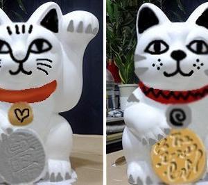 ★ 招き猫のリメイク ( Φ ω Φ ) 白がいいか 黒がいいか