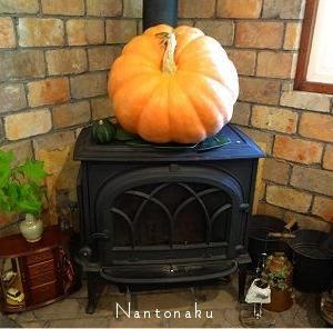 ★京都のカフェの暖炉上のかぼちゃ( Φ ω Φ )