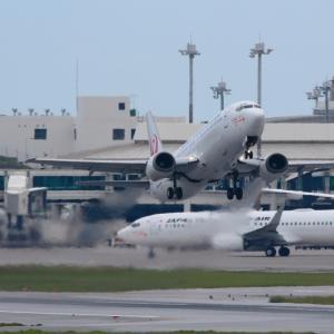 フェアウェルフライト 那覇空港から最後の離陸  B737  日本トランスオーシャン航空(NU)