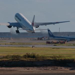 尾翼を交わして  B777  日本航空(JL)