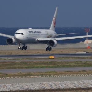 慎重な着陸態勢  B767  日本航空(JL)