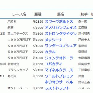 POG&応援馬結果(10/19~10/21)